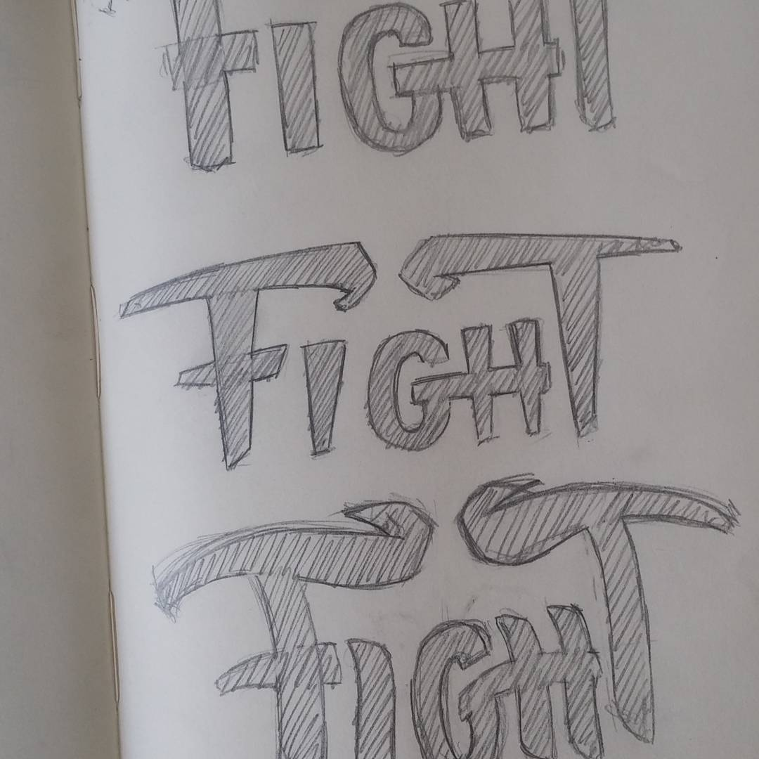 Exploring lettering styles for TaskFight logo