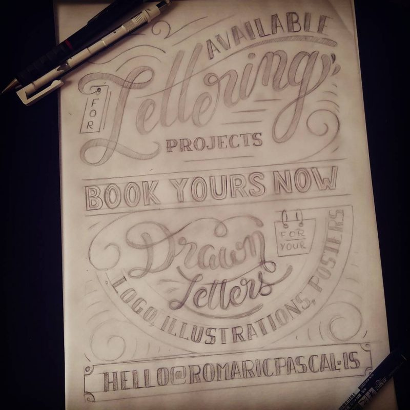 Available for lettering projects - Clean sketch