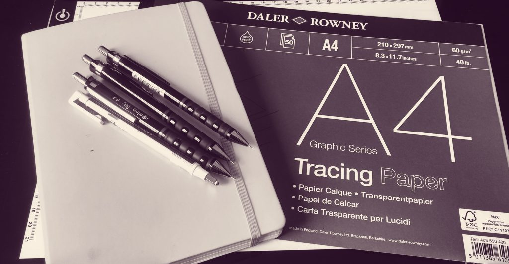 Lettering tools - Pencils, notebook, tracing paper and tracing paper